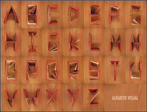 Alphabet made from books. The project by Sonia Lamera