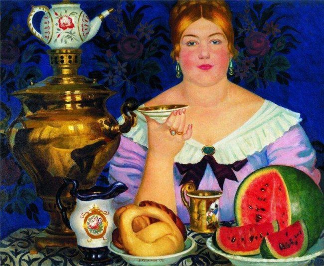 Boris Kustodiev. The merchant drinking tea. 1923