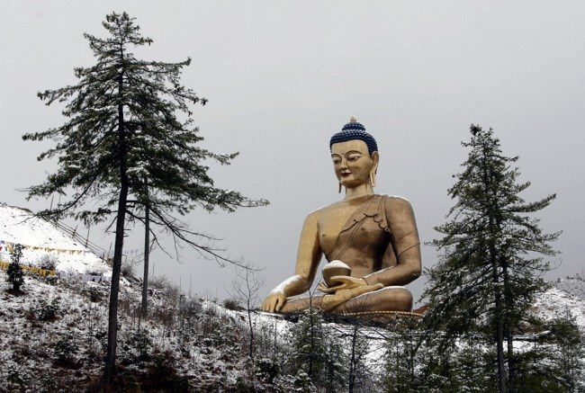 Buddha statue after snowfall near Kuensel Phodrang in Thimphu, January 1, 2011. ReutersSingye Wangchuk