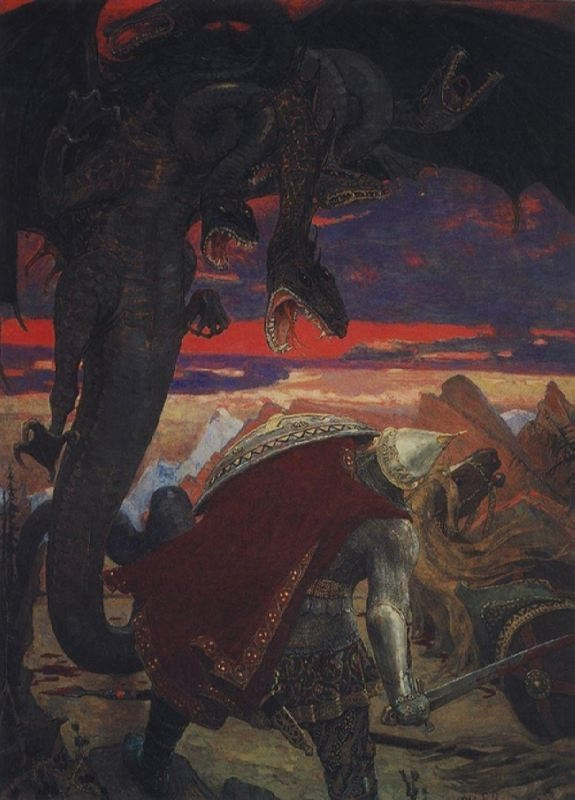 Dobrynya Nikitich fights seven-headed Zmey Gorynych by Vasnetsov