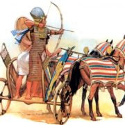 Egyptian chariot with archer armed with a simple bow