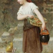 Emile Munier, Feeding the rabbits, 1888