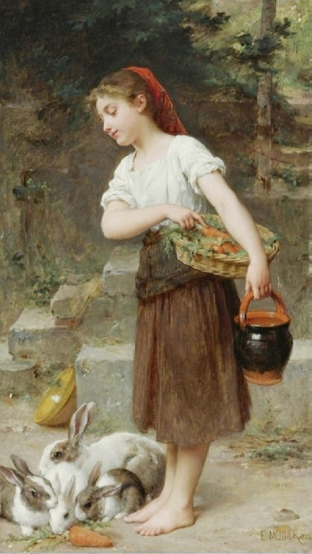 Emile Munier, Feeding the rabbits, 1888