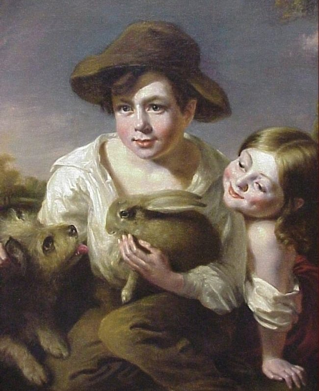 English School, A Boy and Girl with Rabbit and Dog