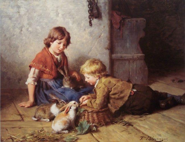 Felix Schlesinger. Feeding the rabbits