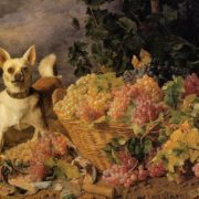 Ferdinand Waldmuller. Dog and a basket of grapes, 1836