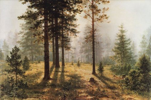 Fog in the forest. Shishkin