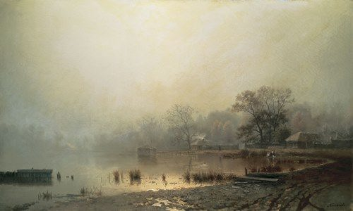 Fog. Red pond in Moscow in the autumn. Lev Kamenev
