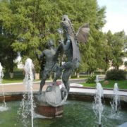 Fountain with a dragon in Minsk, Belarus