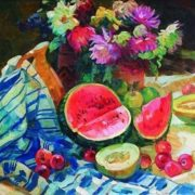 Galina Zorya. Still life with watermelon and melons. 1964