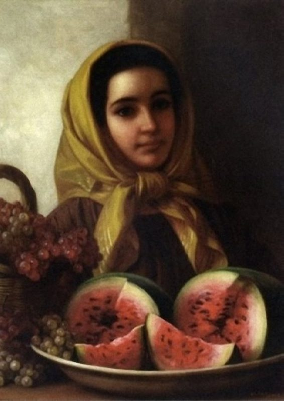 George Henry Hall. Young Women With Watermelon And Grapes. 1867