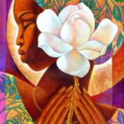 Girl with a flower. Artist Keith Duncan Mallett