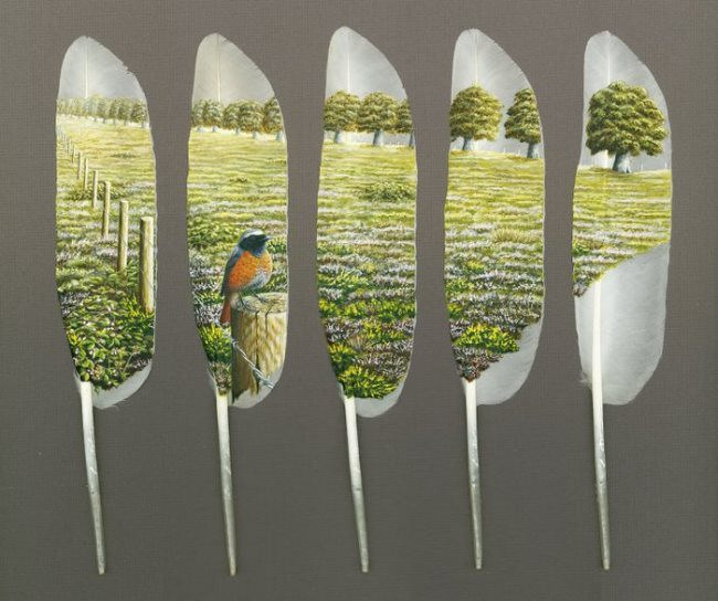 Graceful feather art by Ian Davie