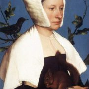 Hans Holbein the Younger. Portrait of a lady with a squirrel and a starling