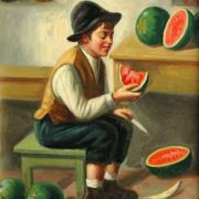Luigi Frana. Boy cutting Watermelon