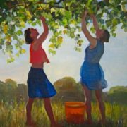 Margaret Benoit. Girls picking Grape