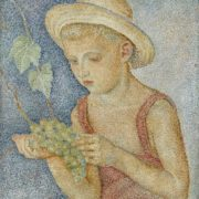 Maria Vorobyova-Stebelska. A boy with grapes