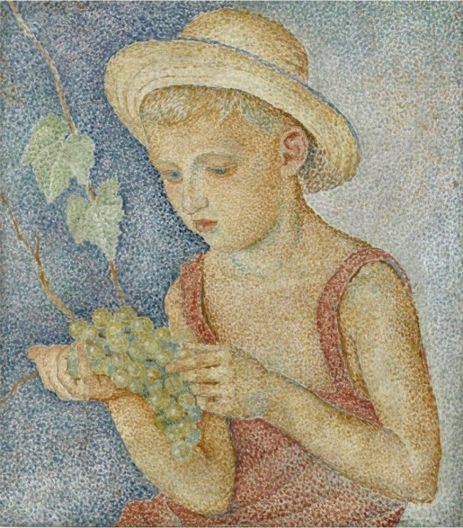 Maria Vorobyova-Stebelska. A boy with grapes