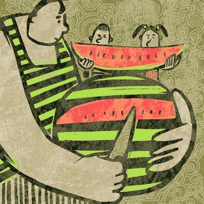 Maxim Pokalyov. Dad and watermelon