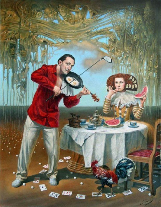 Michael Cheval. Breakfast with Humpty-Dumpty. 2015
