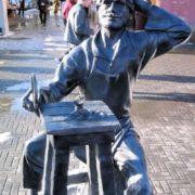 Monument to Levsha who managed to shoe a flea. Chelyabinsk