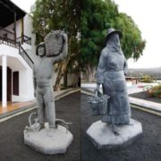 Monument to grape pickers. Lanzarote, Canary Islands, Spain