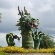 Monument to the dragon in Cambodia