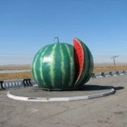Monument to watermelon in Abakan, Khakassia