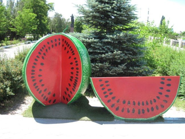 Monument to watermelon in Kherson, Ukraine
