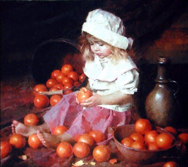 Morgan Weistling. A girl with oranges