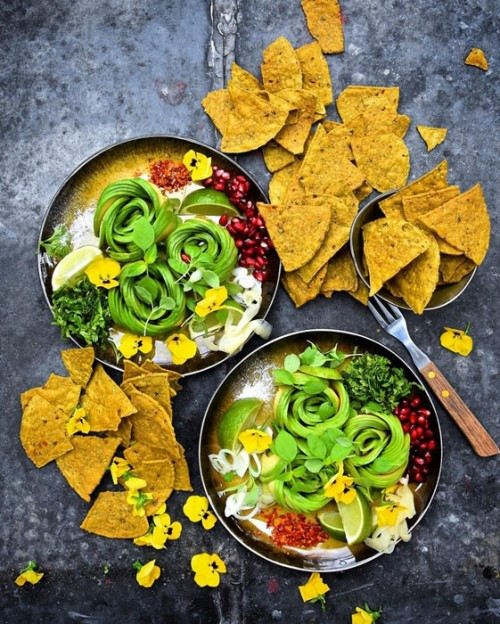 Nachos. Avocado art by Jan Campbell