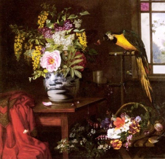 Olaf Augustus Hermansen. Still Life With Vase, Baskets And Parrot