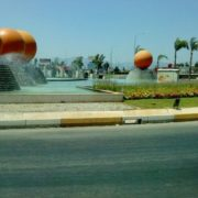 Orange fountain in Antalya, Turkey