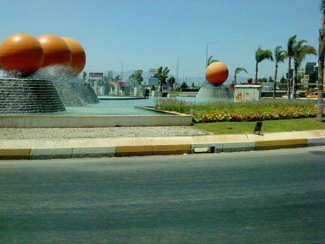 Orange fountain in Antalya, Turkey