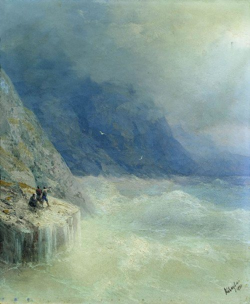 Rocks in the fog. Aivazovsky
