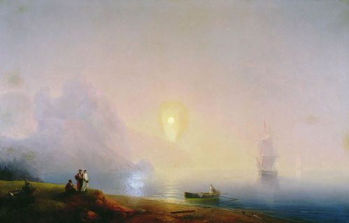 Sea shore. Foggy morning. Ivan Aivazovsky