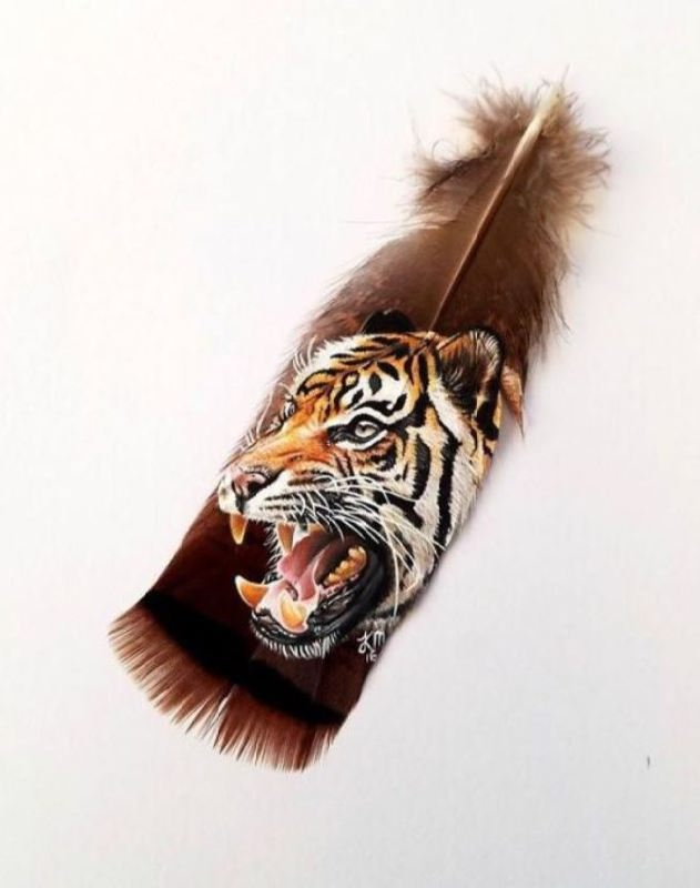 Tiger on feather by Krystle Missildine