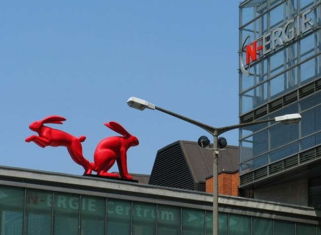Two hares on the roof in Germany, Nuremberg