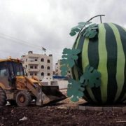 Watermelon monument in Jenin, the Palestinian Autonomy