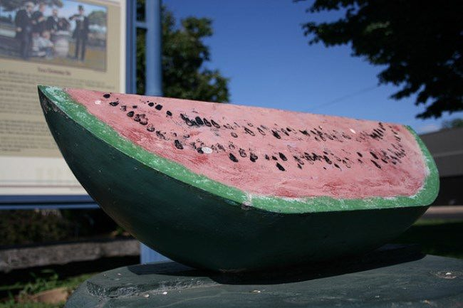 Watermelon monument in Lincoln, Illinois, USA