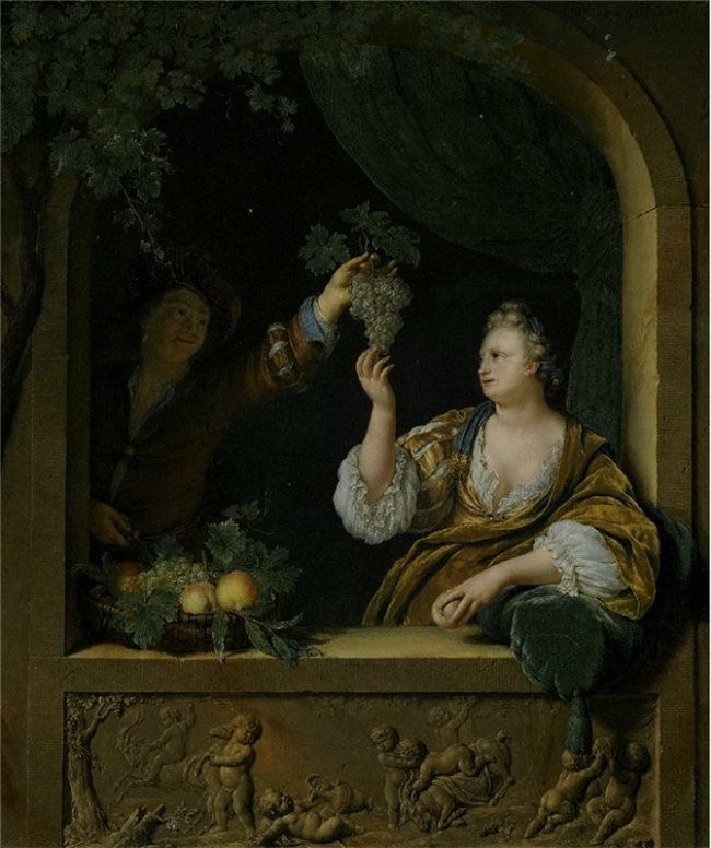 Willem van Mieris. Gentleman offering a Lady a Bunch of Grapes.