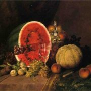 William Mason Brown. Still Life with Watermelon, Grapes, Peaches, Plums and Cantaloupe. 1879