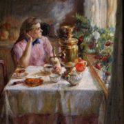 Alexander Ustinovich. At the samovar. 1985