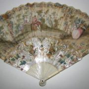 Antique Fan Carved Mother Of Pearl 1800's.