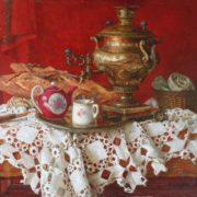 Boris Vedernikov. Samovar on a scarlet background