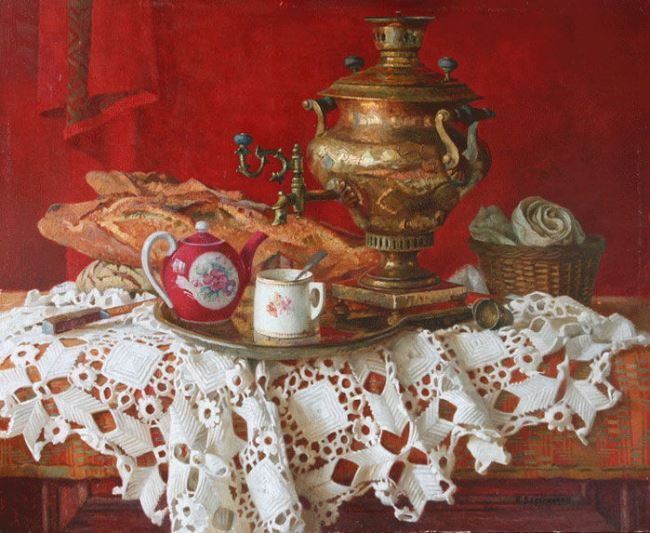 Boris Vedernikov. Samovar on a scarlet background
