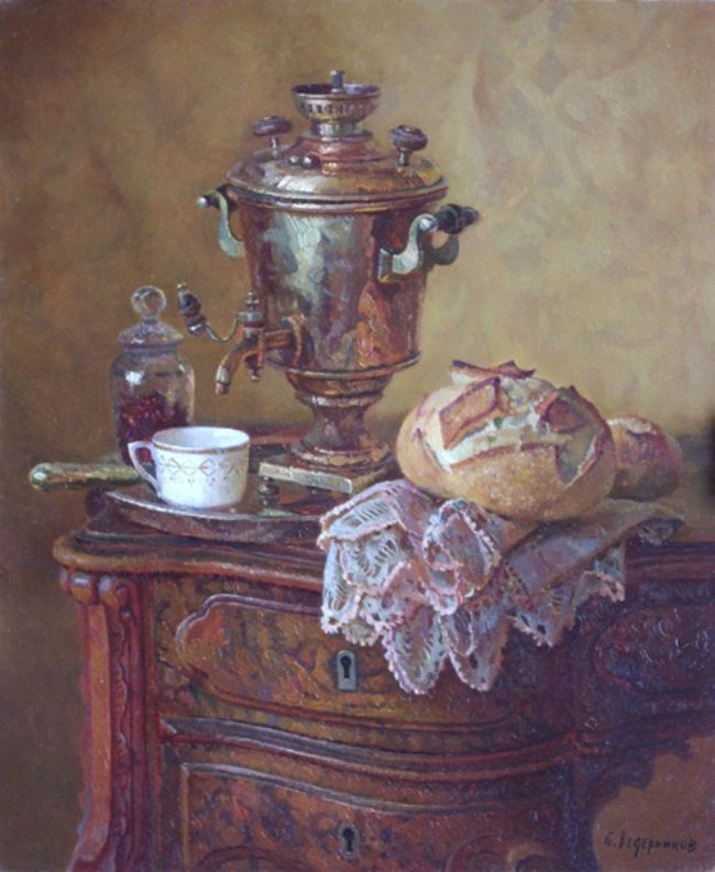 Boris Vedernikov. Still life with a samovar