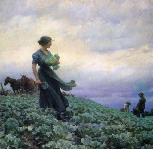 Charles Courtney Curran. The Cabbage Field. 1914