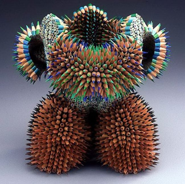 Cute sculpture of pencils by Jen Maestre
