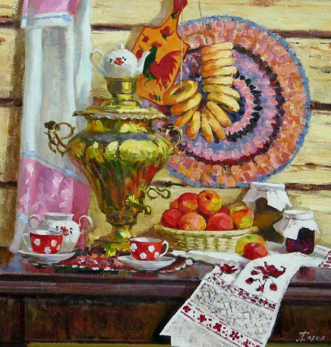 Daria Timoshkina. Samovar with apples
